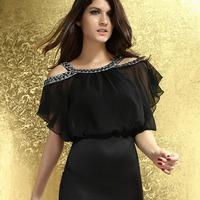 2014 new fashion Women Sexy Short Batwing Sleeve Beading Butterfly Sheath Mini Evening Party Club Dresses HF2875 free shipping