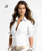 2014 summer spring women's long sleeve shirt cotton fashion style office lady Solid color polo shirt women clothes