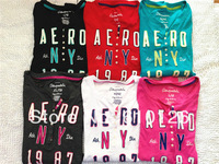 2014 FreeShipping NewArrival HotSale High Quality female fashion cotton 'aeropostale' casual O neck Colorful long sleeve t-shirt