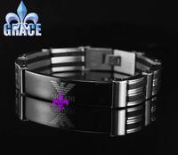 Top Quality 316L Stainless Steel Bracelets silver black charm link Stainless Steel Bracelet mens brand bangle