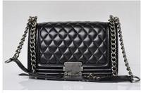 25.5 cm 67086 High Quality Leather Handbags Women Famous Brand Designer Le boy Chain Shoulder Bag Classic Quilted Plaid C Bag