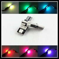 T10 192 W5W RGB 5SMD 5050 width lamp RGB Changeable Colors T10 194 168 W5W LED Wedge Interior Light bulb license plate light