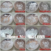 Free shipping  8 types of Congo Endangered Worldwide Animal Coins silver plated coins 8pcs/lot