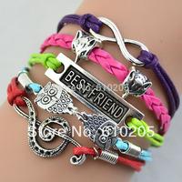 Wholesales Multi layer Vintage Best Friends Bar Charms Owl Bracelets fashion bracelets & bangles