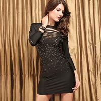 Plus Size XXXL Dresses 2014 New Fashion Long Sleeve Sexy Cut Out Front Rainstone Dress Party Dress Clubwear Bodycon Dress HF2366