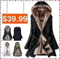 Faux fur lining women's fur Hoodies Ladies coats winter warm long coat jacket cotton clothes thermal parkas Free Shipping