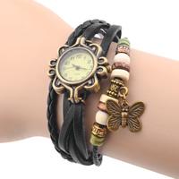 Ladies Women Dress Wacthes Retro Beads Leather Strao Bracelet Butterfly Quartz Wristwatch 2014 Fashion