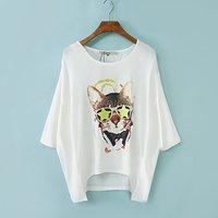 2014 summer women t-shirt fashion women's glasses cat print tops tees short-sleeve T-shirt batwing shirt free shipping