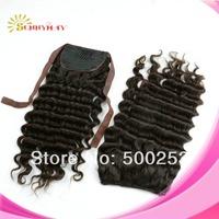 2014 Hot sale Malaysian Human Virgin Hair Deep Wave Natural Color In Stock  Drawstring Ponytail