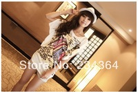 Summer wear Korean long bat bigger sizes in fashionable Han Guolou shoulder personality loose t-shirts with short sleeves