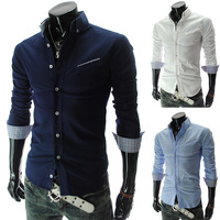 2014New Fashion Men's Shirts Male Casual Slim Classic Long-sleeve Shirt 3 Colors M~XXL