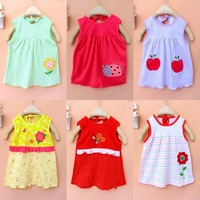 New 2014 Baby Girls Summer Dress Carters Clothes About 40cm Send Color Random Baby's Clothing 5pcs/lot Free shipping