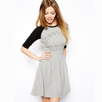 Fashion preppy style light grey black half sleeve loose letter print skirt one-piece dress haoduoyi knitted