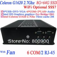 Cheap Net PC Computer Terminal Industrail PC Terminal with 6 COM 2 LAN Intel dual core Celeron G1620 2.7GHz CPU 8G RAM 64G SSD