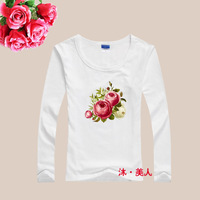 spring new 2014 cotton Lycra fashion flower women t-shirt long sleeve women clothing women shirt