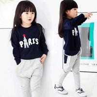 1 Set Retail 2014 New letter print kids clothing set, long sleeve T-shirt+pant, girl children set free shipping