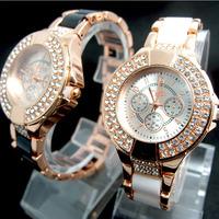 Wholesale 2 colors Fashion Rose Gold Tone Bling Bling Crystal Watch Women Ladies Dress Quartz Wristwatches TW036
