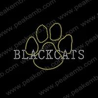 Black cats Paw Rhinestone Heat Transfers Iron On Hot Fix Crystal Appliques Iron On Motif  50Pcs/Lot Free Dhl Shipping