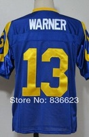 Free Shipping #13 Kurt Warner Men's Throwback Football Jersey,Embroidery and Sewing Logos,Size M--3XL ,Accept Mix Order