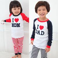 Retail,2014 new,100%cotton boys girls i love mom dad pajamas branded kid children ,letter print pajamas,Children's pajamas