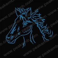 Blue Horse Head Rhinestone Transfers Iron On Hot Fix Crystal Appliques Iron On Motif  30Pcs/Lot Free Dhl Shipping