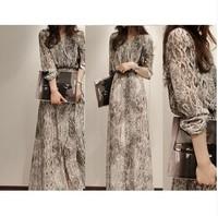 women new fashion 2014 summer spring V-neck sexy party bohemia dress full serpentine pattern full print lace chiffon dress