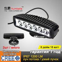 "Free shipping to Russia 2pcs 6"" 18W cree LED Work light Driving Lamp Spot Flood Truck SUV ATV Off-Road Car 12v 24v Black White"