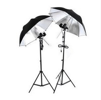 Free Shipping + 2014 New Studio Photography Kit (2 Light Stands + 2 Reflective Umbrellas + 2 Dual Lamps)