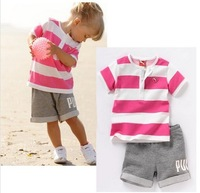2014 new summer casual striped baby clothing set girl's suit t-shirt + pants cotton