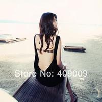 Free Shipping+fashion summer spring black dress bohemia lady sexy Beach dress