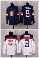 Customize Olympic Zach Parise USA Jersey Stitched Sochi 2014 Team USA 9 Zach Parise Olympic Jersey American Hockey Jersey
