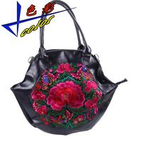 National trend genuine leather big bag fashionable casual shoulder bag women's handbag messenger bag cowhide embroidery