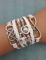 3pcs infinity ,palm and anghor bracelet.metal charm,wax cord,leather bracelet  3460