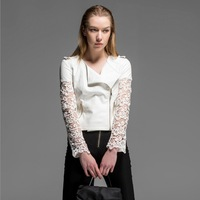 Free shipping!2014 nw spring and summer white lace cutout PU clothing fashion women jacket design short outerwear