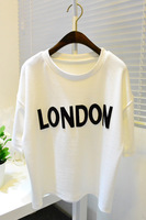 New 2014 Spring Summer Women's Pure Cotton Short Sleeve O-neck T-shirts London Letters Print Loose Casual White Tops GT016