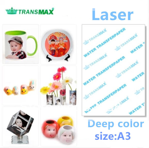 50pcs/lot transmax A3 water transfer printing paper Laser deep color heat transfer paper water print water decal paper(China (Mainland))