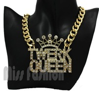 11.11 Hip Hop Gold Curb Link Chain Letter Clear Rhinestone Crown Twerk Queen Necklace Jewelry For Women 2014 Spring Summer