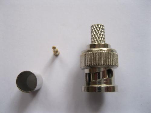 500pcs/lot BNC male crimp plug for RG59 coaxial cable BNC Connector BNC male 3-piece crimp connector plugs RG59(China (Mainland))