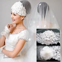 2014 new women long lace cathedral veil  wedding a bridal  wedding accessories birdcage veil mantilla