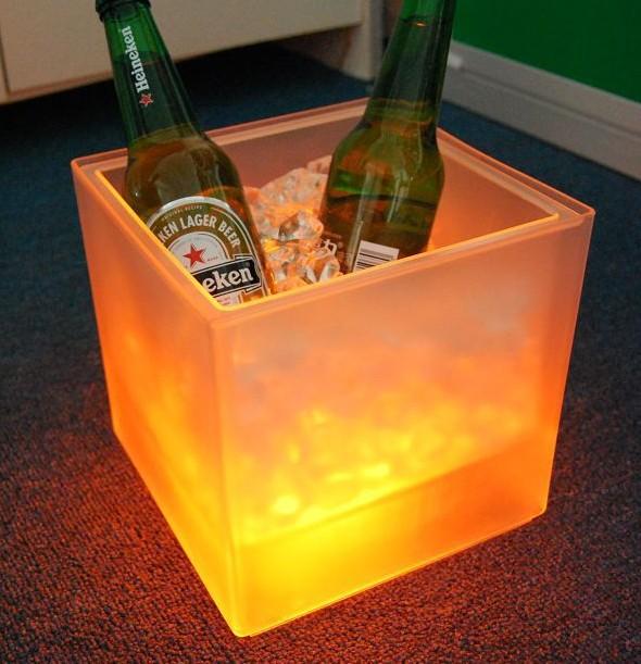 BAR LED Ice Bucket,plastic ice bucket ice pail ice cooler yellow light(China (Mainland))