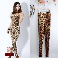 2014 new A-1839 sexy leopard print tube top jumpsuit  women  fashion suit  leopard