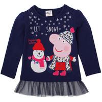 Peppa pig girl dress 2014 new Nova brand clothing printed cartoon peppa pig spring autumn causal long cotton dress for children