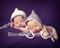 2 PCS Retail Crochet  Newborn White/Purple  Pixie Baby Bonnets, Crochet Baby Bonnets Photo Prop,  Newborn Twin Bonnet beanies