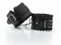 Hot Black Adjustable Plush Manacle Restraints Costume Play w/ Chain Adult Sex Flirt Toys Tools # 26003501
