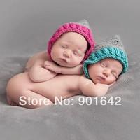 2 PC Retail Crochet  Newborn Girl's Pixie Baby Bonnets, Crochet Baby Bonnets, Newborn Photo Prop,  Newborn Twin Bonnet beanies