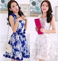High Quality 2014 Summer New Hand Applique Organza Dress Women Elegant Round Neck Printed Tank Dress