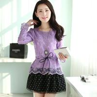 2014 Spring Women Plus Size Slim Faux Two Piece Petal sleeve Splicing Dress Fashion Sweet Lace Hollow Out Crochet Organza Dress