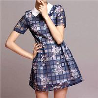 2014 Summer Stylish Women Printed Plaid Organza Dress Fashion Elegant Short Sleeve Doll Collar Slim Princess Dress