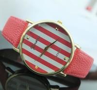 Ladies geneva watch stripe watches 2014 cheap wholesale 11 colors