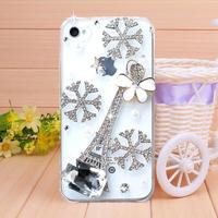 New 2014 fashion Sakura Tower Rhinestone case for iPhone 4 4s case for iPhone 5 5s case Mobile Border Protection Phone bag